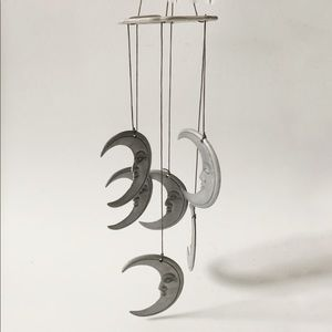 Vintage 90s metal moon wind chime